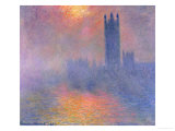 Le Parlement de Londres, trou&#233;e de soleil dans le brouillard, 1904 Reproduction proc&#233;d&#233; gicl&#233;e par Claude Monet