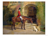 Portrait of the High Sheriff of the County of Rutland on His Bay Hunter Before Hambleton Hall, 1889 Giclee Print by William Woodhouse