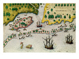 "The Arrival of the English in Virginia, from ""Admiranda Narratio.."", 1585-88 Giclee Print by Theodor de Bry"