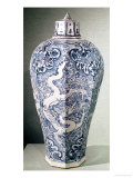 """Octagonal """"Mei- P""""Ing"""" Vase with White and Blue Decoration, from Baoding, Hebei, Yuan Dynasty Giclee Print"""