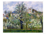 The Vegetable Garden with Trees in Blossom, Spring, Pontoise, 1877 Stampa giclée di Camille Pissarro