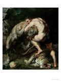 Hercules Fighting the Nemean Lion Giclée-Druck von Peter Paul Rubens