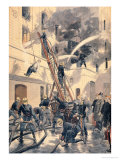"""Felix Faure with the Firemen, from """"Le Petit Journal"""", 20th February 1898 Premium Giclee Print by Fortuné Louis Méaulle"""