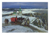 The Closed Sleigh Giclee Print by Konstantin Alexandrovich Westchilov