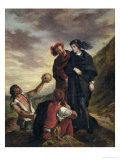 "Hamlet and Horatio in the Cemetery, from Scene 1, Act V of ""Hamlet"" by William Shakespeare 1839 Giclee Print by Eugene Delacroix"