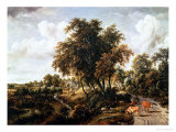 Road on the Dyke Giclee Print by Meindert Hobbema