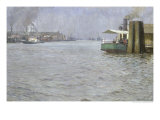 Sunday Atmosphere on the Elbe, St. Paul Landing Bridge, 1901 Giclee Print by Leopold Karl Walter von Kalckreuth
