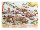 Naval Combat Between the Beggars of the Sea and the Spanish in 1573 Giclee Print by Franz Hogenberg