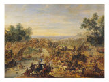Cavalry Battle on a Bridge Giclee Print by Adam Frans van der Meulen