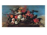 Wicker Basket of Flowers Giclee Print by Jean-baptiste Belin De Fontenay