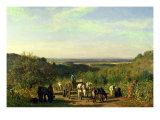 View from the Hilltops of Suresnes Or, the Grape Harvest at Suresnes Giclee Print by Constant-emile Troyon