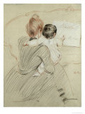 Madame Paul Helleu and Her Daughter Paulette, 1905 Giclee Print by Paul César Helleu