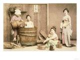 Geishas Bathing, circa 1880s Giclee Print by  English Photographer