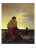 Fisherman&#39;s Wife Mourning on the Beach Giclee Print by Julius Muhr