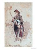 Woman at the Hotel de Ville, Second Day of the Paris Commune, 1871 Giclée-Druck von Daniel Urrabieta Vierge