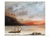 Sunset Over Lake Leman, 1874 Reproduction procédé giclée par Gustave Courbet