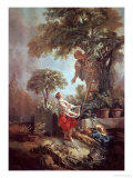 Landscape with Figures Gathering Cherries Giclee Print by Francois Boucher