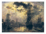 View of the Port, or the Windmills in Rotterdam, 1870 Giclee Print by Johan-Barthold Jongkind