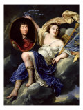 Fame Presenting a Portrait of Louis XIV to France Reproduction proc&#233;d&#233; gicl&#233;e par Jean Nocret
