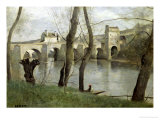 The Bridge at Mantes Giclee Print by Jean-Baptiste-Camille Corot