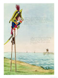 Caricature of Napoleon Standing on Stilts Observing Pitt and England Across the Channel Giclee Print