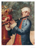 A Flautist, Detail from a Screen Giclee Print