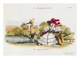 "Marriage by the Book, Caricature from ""Les Metamorphoses Du Jour"" Series Giclee Print by  Grandville"