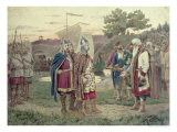 The Grand Duke Meeting with the People of a Slav Town in the 9th Century, 1880 Giclee Print by Aleksei Danilovich Kivshenko