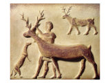 Painted Relief Depicting a Man with Deer, from Mari, Middle Euphrates Giclee Print by  Mesopotamian