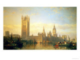 New Palace of Westminster from the River Thames Lámina giclée por David Roberts