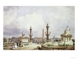 The Place de La Concorde, circa 1837 Giclee Print by William Wyld