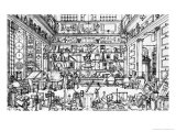 Cabinet of Physics, 1687 Giclee Print by Jacques Sébastien Le Clerc