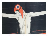 """Marianne Crucified, Illustration from """"Parlons Francais"""" by Paul Iribe Giclee Print by Paul Iribe"""