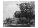 Landscape with Three Cottages, 1650 Giclee Print by  Rembrandt van Rijn