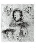 Six Heads with Saskia Van Uylenburgh in the Centre, 1636 Giclee Print by  Rembrandt van Rijn