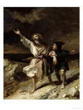 "King Lear and the Fool in the Storm, Act III Scene 2 from ""King Lear"" by William Shakespeare 1836 Giclee Print by Louis Boulanger"