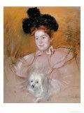 Woman Holding a Dog Giclee Print by Mary Cassatt