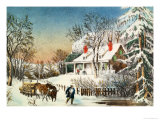 Bringing Home the Logs, Winter Landscape Reproduction procédé giclée par Currier & Ives