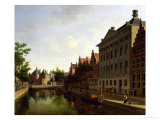 View of the Kloveniersburgwal in Amsterdam, with the Waag Giclee Print by Gerrit Adriaensz Berckheyde