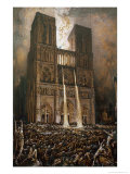 The Populace Besieging Notre-Dame Giclee Print by Francois Nicolas Chifflart
