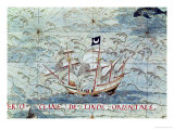 "A Caravel, from ""Cosmographie Universelle"", 1555 Giclee Print by Guillaume Le Testu"