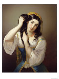 A Sicilian Playing with Her Hair Giclee Print by Michele Cusa