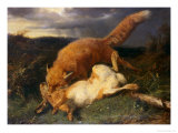 Fox and Hare, 1866 Giclee Print by Johann Baptist Hofner