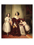 Madame de Nonjon and Her Two Daughters, 1839 Reproduction procédé giclée par Joseph Nicolas Jouy