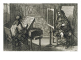 Artist Painting a Portrait Over a Grid for Accurate Proportion, Printed Paris 1737 Giclee Print by Abraham Bosse