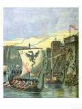 Norse Boats Besieging Paris, Illustration from a Cover of a School Exercise Book, Late 19th Century Giclee Print by G. Dascher