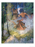 "The Fight in the Forest"", Illustration from ""The Last of the Mohicans"" by Fenimore Cooper Giclee Print by Newell Convers Wyeth"