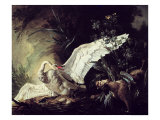 A Water Spaniel Attacking a Swan on Its Nest, 1740 Giclee Print by Jacques Charles Oudry