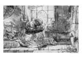 The Holy Family with a Cat, 1644 Giclee Print by  Rembrandt van Rijn