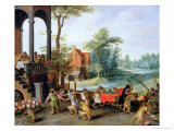 A Satire of the Folly of Tulip Mania Reproduction proc&#233;d&#233; gicl&#233;e par Jan Brueghel the Younger
